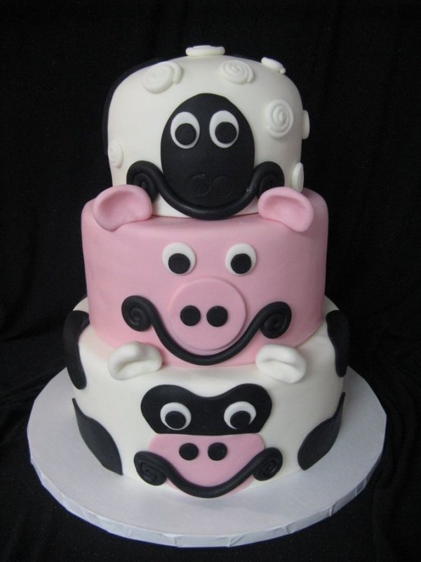 Easy Cow Cake Design : Pig, Cow and Sheep Cake - 50 Easy Make Animal Cakes for Every?
