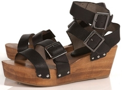Topshop Wonda Black Leather Buckle Wooden Wedges