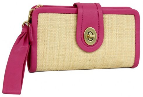 Coach Straw Pink Clutch