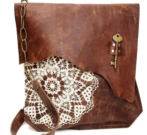 Boho Leather Messenger Bag with Crochet Lace & Antique Key