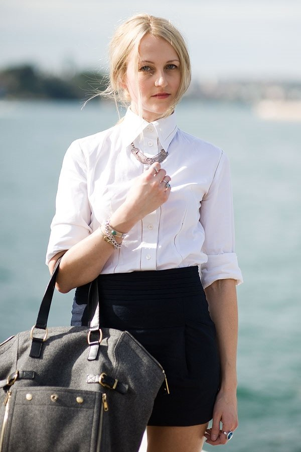 Button It up All the Way and Pair with a Short Skirt