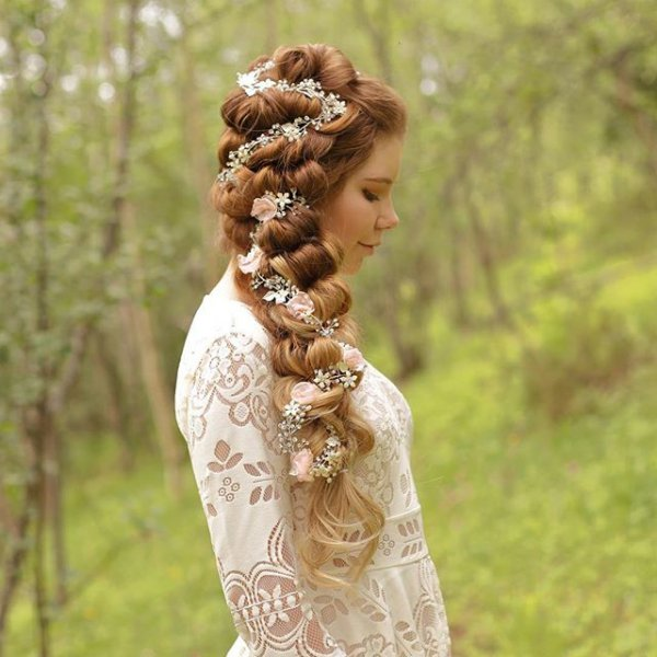 hair, hairstyle, woman, tree, dress,