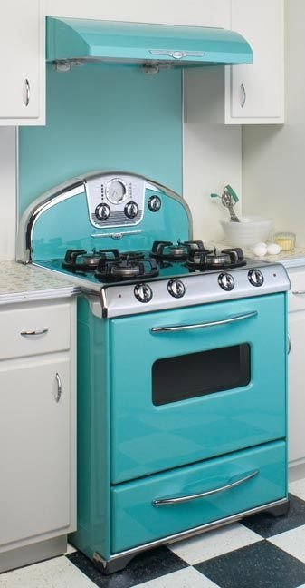 Turquoise appliances 23 retro kitchens you can copy in your - Teal kitchen appliances ...