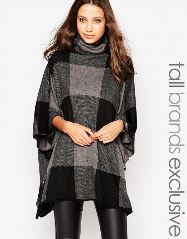 Checked Poncho