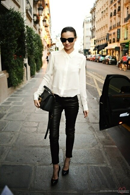 Loose White Blouse, Leather Pants and Black Heels - 65 Absolutely…