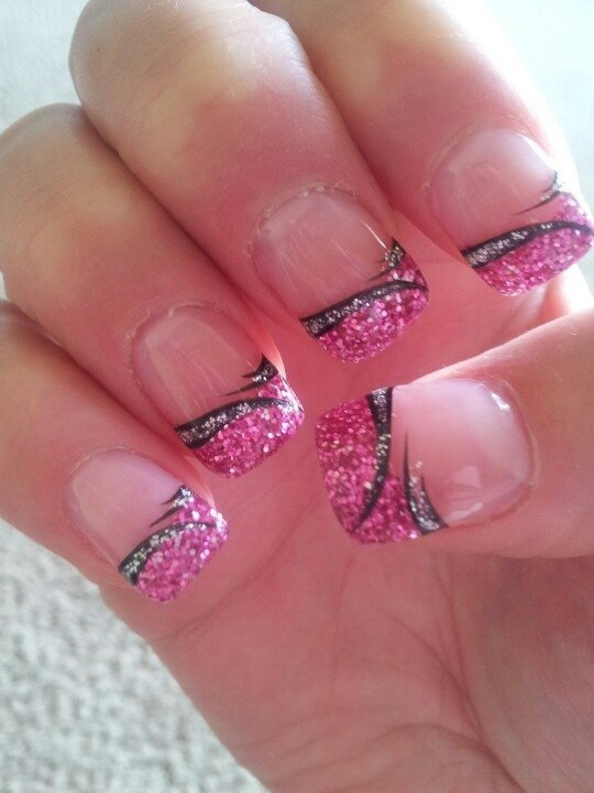 glitter french tip with nail art 62 fabulous french tip