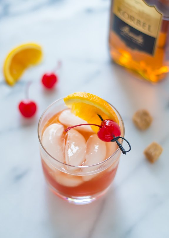 Brandy Old Fashioned With Olive Juice
