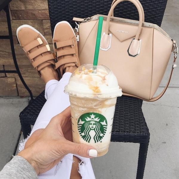 Starbucks, footwear, diaper bag, ice cream cone, bag,
