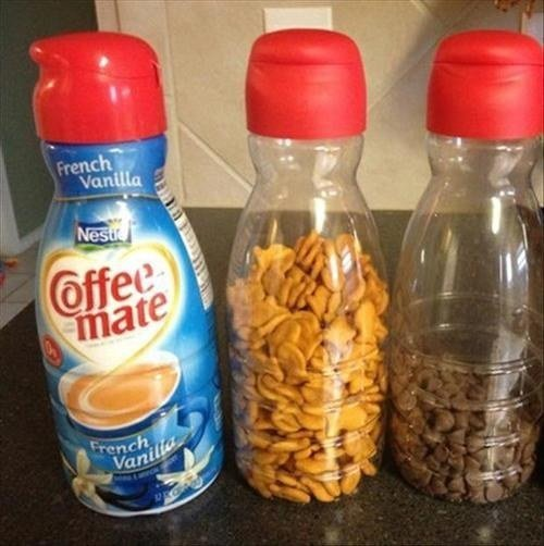 Coffee Creamer Containers Make Great on-the-go Storage for Your Snacks