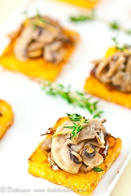 Mushroom and Caramelized Onion Fried Polenta Canapés