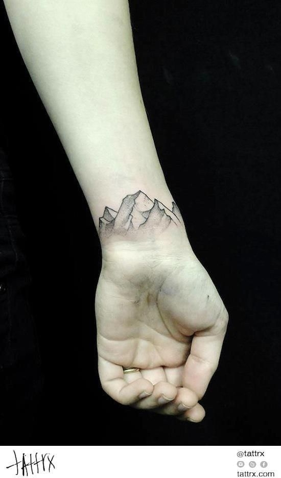 21 nature outline 32 inspiring wrist tattoos for Inspirational wrist tattoos