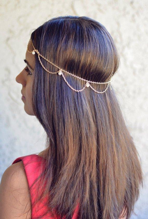 Draped Cascading Pearl Hair Chain
