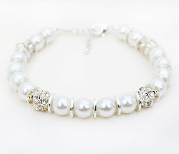 White Pearl Beaded Rhinestone Bracelet