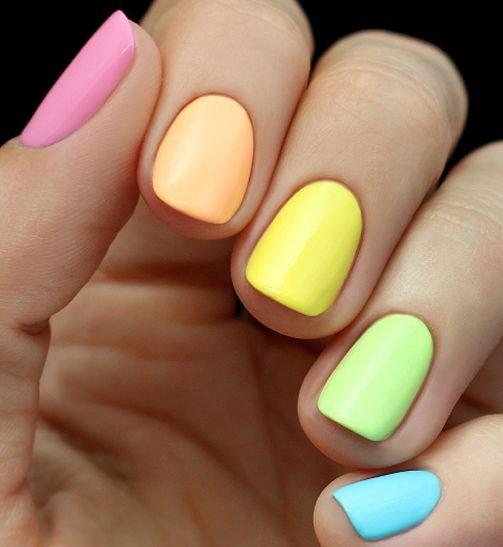 Solid Rainbow Manicure