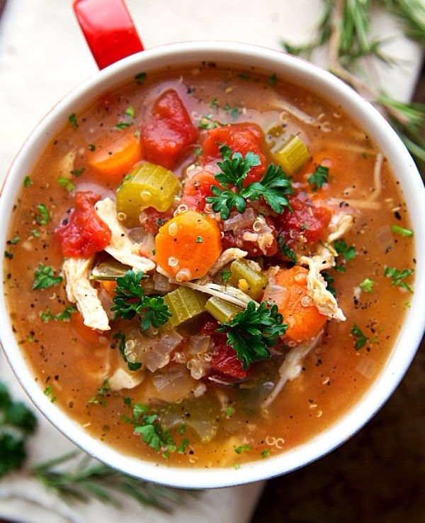 25. Italian Chicken, Quinoa, and Vegetable Soup - Get Your Fill of…