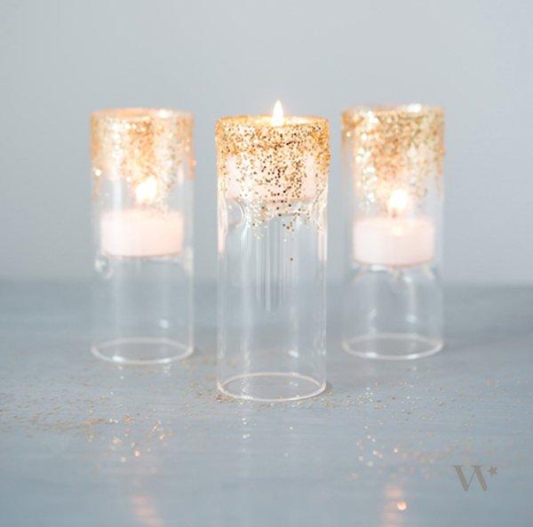 Beautiful Glitter Tea Light Candle Holder - DIY Ideas to Help You Throw a… MC01