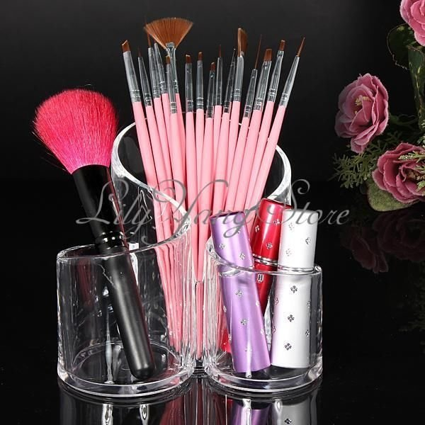 Clear Acrylic Cylindrical Makeup Holder Case