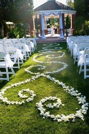 Form an Aisle Runner out of Rose Petals