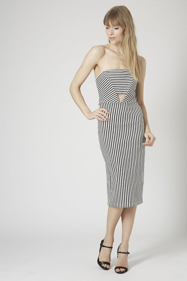 Topshop Striped Panel Cut-out Midi Dress