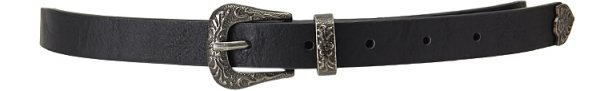 Etched-Buckle Faux Leather Belt