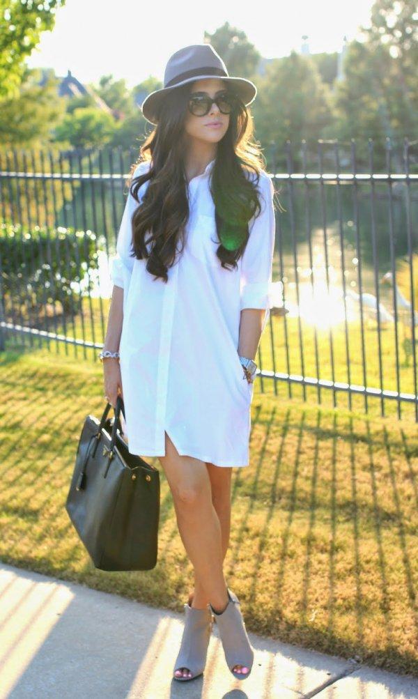With a Shirt-dress & Fedora
