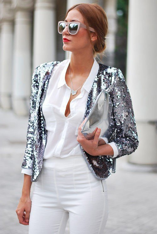 Silver Sequin Jacket with an All White Outfit
