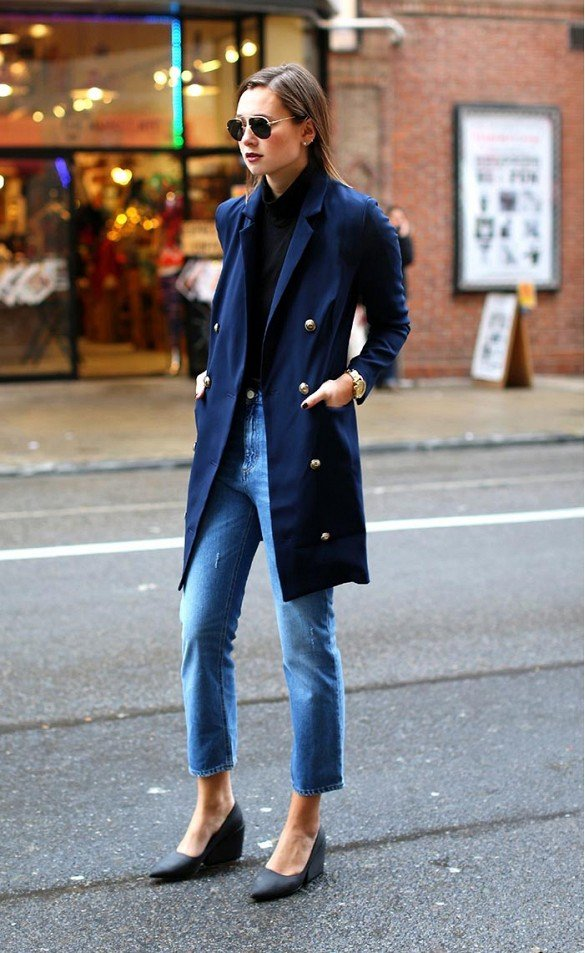 Ankle Length Jeans with a Navy Blue Coat