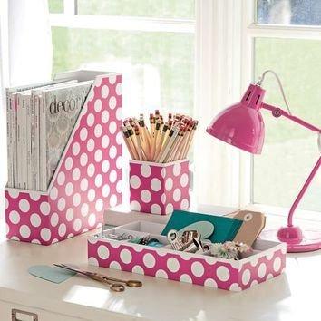 Preppy paper desk accessories 46 desk organizers to keep - Cute desk accessories and organizers ...