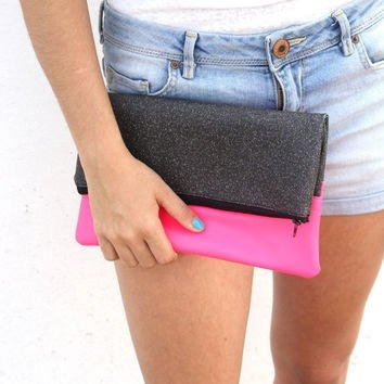 Neon Pink Faux Leather and Black Shiny Clutch