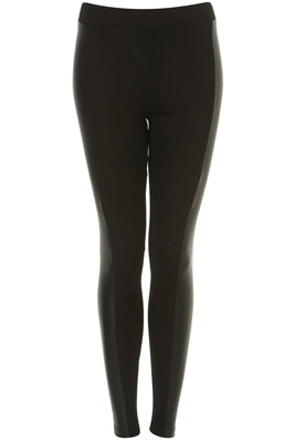 Topshop Faux Leather Panel Black Leggings