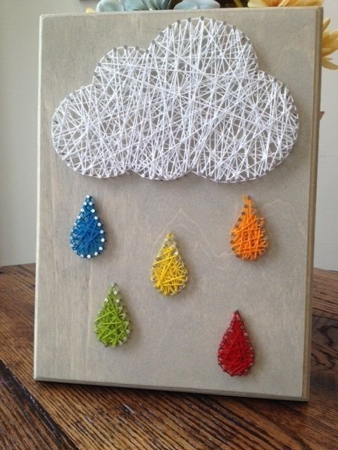 Rain cloud nail string art 37 diy cloud projects for for Diy nail and string art