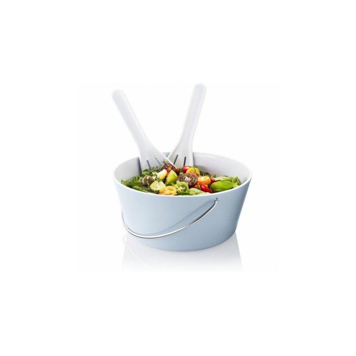 Eva Solo Bowl with Salad Set, Melamine, Light Blue/White
