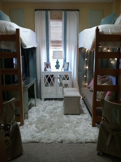 Two Loft Beds Give a Double Dorm More Space