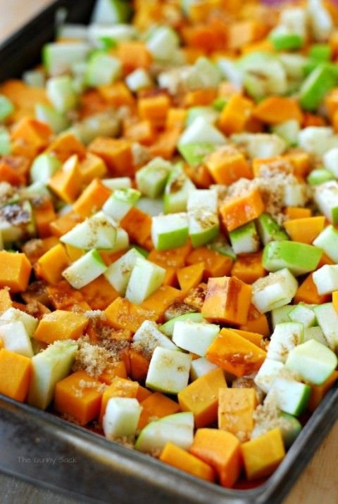 Roasted Butternut Squash with Green Apples and Candied Walnuts -…