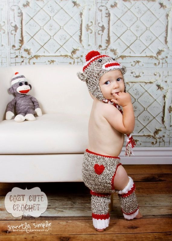 Sock Monkey Diaper Cover Leg Warmers Set 40 Sock Monkey