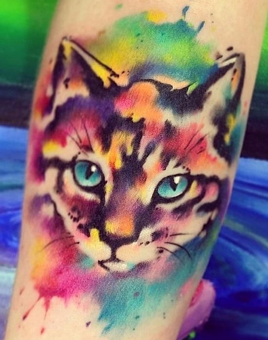 arm,tattoo,cat like mammal,chest,flower,