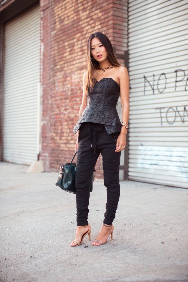 Try Track Pants with a Bustier