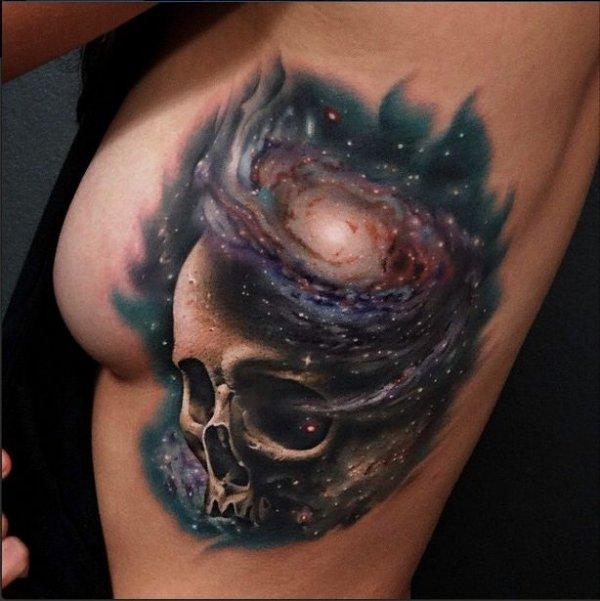Galaxy Skull Tattoo