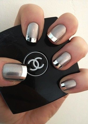 French Tips in Metallic Silver