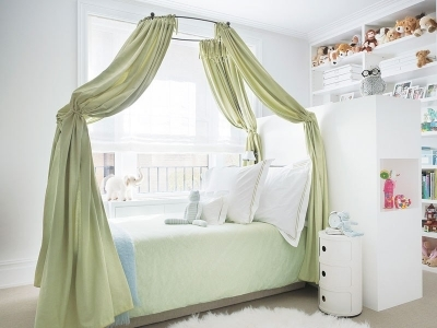 11. Or drape a sheer pattern to add dimension to a small room.