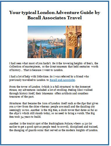 Your typical London Adventure Guide by Bacall Associates Travel