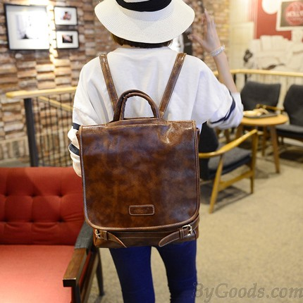 Vintage Simple Street Square Clam shell Solid Travel Backpack