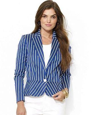 Ralph Lauren Single-Button Striped Peplum Blazer