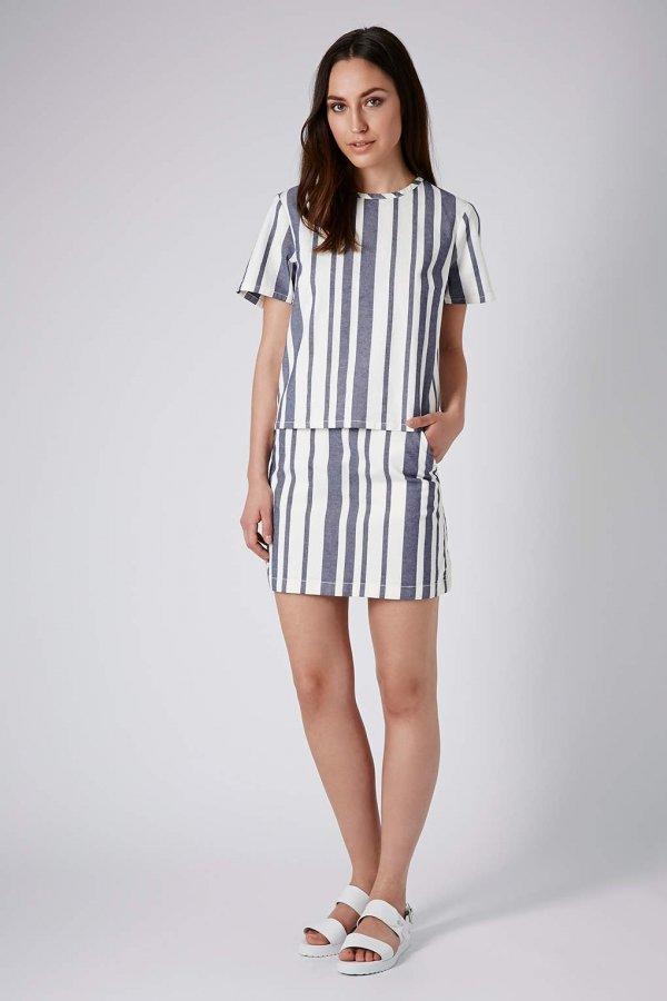 Topshop Denim Stripe Tee and Skirt