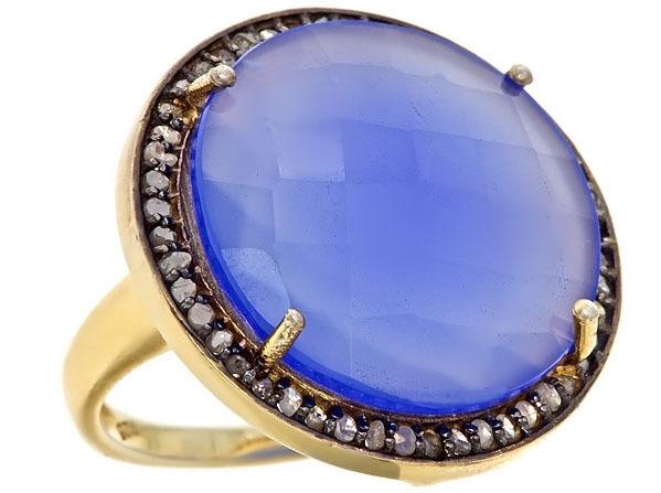 Kara Ackerman Alice Rose Cocktail Ring in Blue Onyx