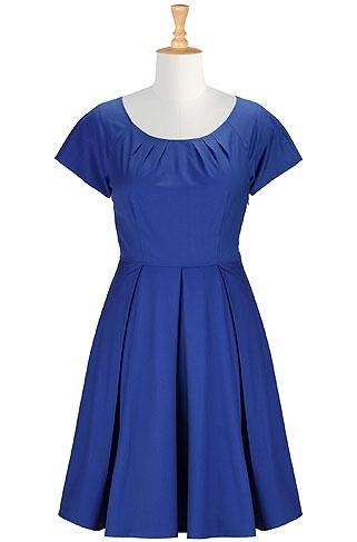 EShakti Pleat Neck a-Line Dress in Royal Blue