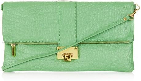 Green Flip Lock Clutch by Topshop