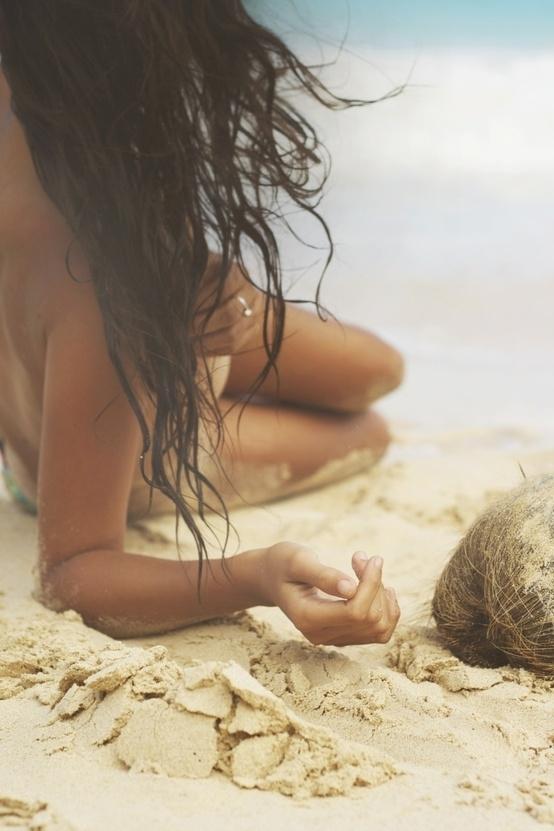 sea, shore, beauty, sand, girl,