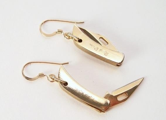 Tiny Folding Knife Earrings by YOUgNeek