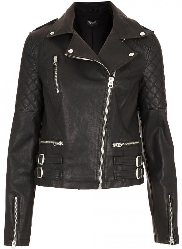 Leather Look Biker Jacket